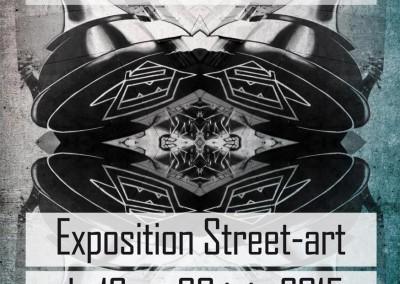 """Graffiti Street art Exposition Affiche pour l'exposition """" La ville commence ici """" dans la tour Misaine à Aix les Bains en Savoie. Avec la participation du Collectif de la Maise en 2015"""