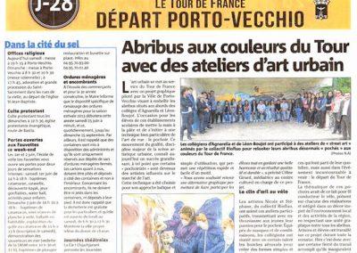 Graffiti Street art Article de presse dans le Corse Matin, représentant la participation des jeunes intervenants pour la Tour de France 2013 en collaboration avec N.Scauri