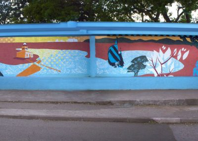 Graffiiti Street art Décoration d'un abribus pour le Tour de France 2013 en collaboration avec N.Scauri de l'agence artistique RioFluo