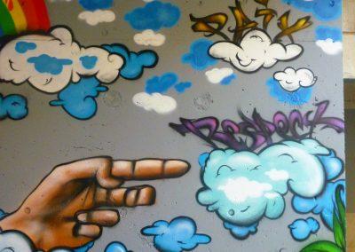Graffiti Street Art Animation et décoration pour theme la paix et la tolérance avec les jeunes du quartier de Garbejaire à Sophia Antipolis en 2012