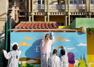 Fresque murale initiation avec les collégiens à Callian dans le Var (83) Graffiti Street art 2021