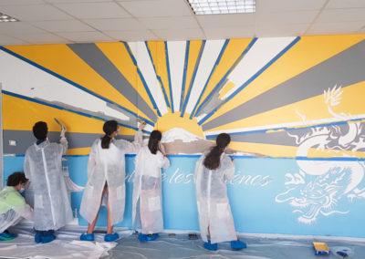 Fresque murale initiation avec les collégiens à Fréjus dans le Var (83) Graffiti Street art 2021