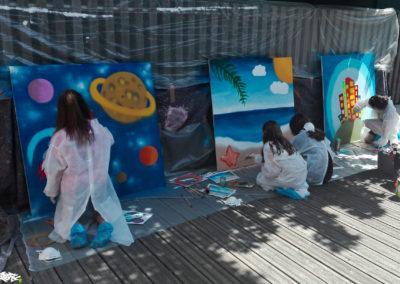 Graffiti sur panneaux en bois avec les ados de la médiathèque à Thyez en Haute-Savoie ( 2018 ) Graffiti Street art Animation