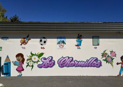 Fresque sur le mur de l'école des Charmilles à Thyez en Haute-Savoie (74) Graffiti Street art 2018
