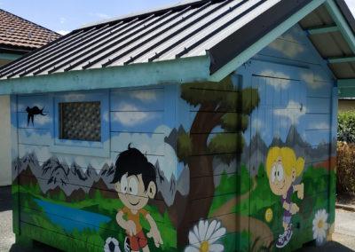 Fresque murale initiation avec les enfants de la garderie Touche à tout à Passy en Haute-Savoie (74) Graffiti Street art 2020