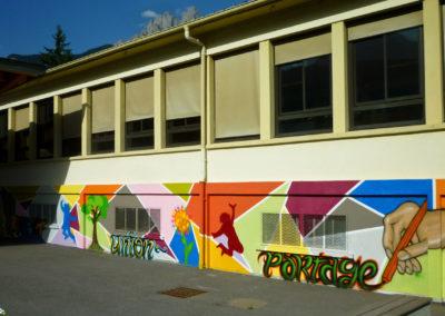 Fresque murale réalisée avec les enfants de l'école Jules Ferry à Sallanches en Haute-Savoie ( 2017 ) Graffiti Street art Animation