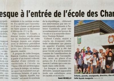 Article de presse dans le Dauphiné de la fresque de l'école des Charmilles à Thyez en Haute-Savoie (74) Graffiti Street art 2018