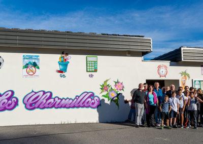 Inauguration de la fresque de l'école des Charmilles à Thyez en Haute-Savoie (74) Graffiti Street art 2018